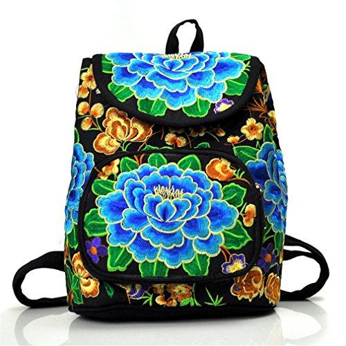 Nacional bordado Classic Vintage mujeres bordado Satchel Viajes Escuela Mochila Mochila bolsa de hombro, girasol (Amarillo) - A1MZFBB001SF01 blue peony
