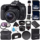Canon EOS 80D DSLR Camera with 18-55mm Lens 1263C005 (International Version) + 64GB SDXC Class 10 Memory Card + External Flash + Carrying Case + SD Card USB Reader + Memory Card Wallet Bundle
