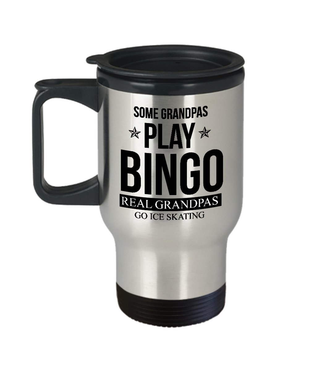 Best Travel Coffee Mug Tumbler-Ice Skating Gifts Ideas for Men and Women. Some Grandpas Play Bingo real grandpas go Ice Skating. by Mugart