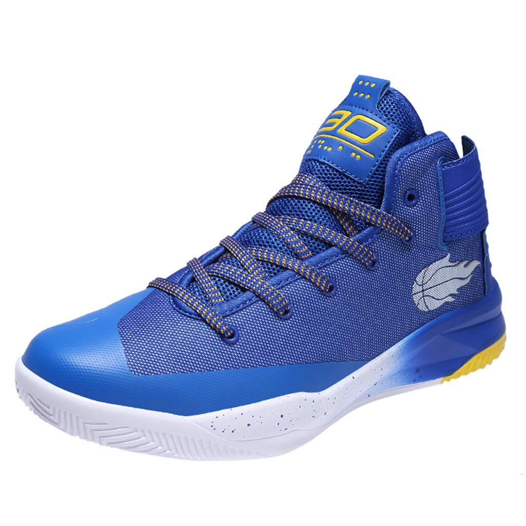 High-top Sneakers for Men 2019 Newest Casual Round Toe Fashion Lace-up Running Sports Shoes (US:9.5, Blue)