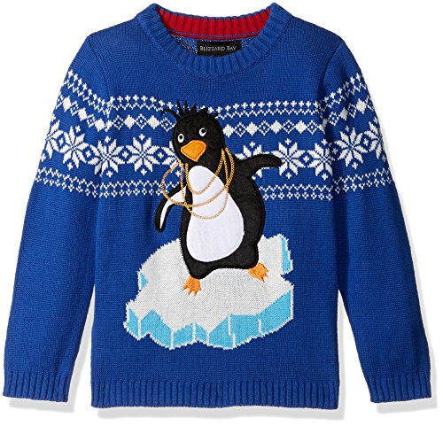Blizzard Bay Little Boys' Pimped Out Penguin Sweater, White, Blue Combo, 5 (Kids Ugly Christmas Sweater)