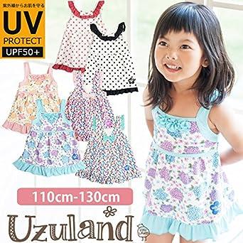 ea66f29aa83 Amazon | 女の子 裾フリル Aライン ワンピース 水着 子供用 キッズ UVカット UPF50+ 韓国子供服 100サイズ アジサイピンク | 水着  通販