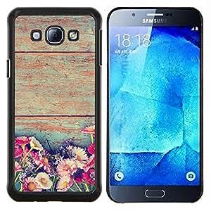 LECELL--Funda protectora / Cubierta / Piel For Samsung Galaxy A8 A8000 -- Rústico Flores florales Sun Inicio --