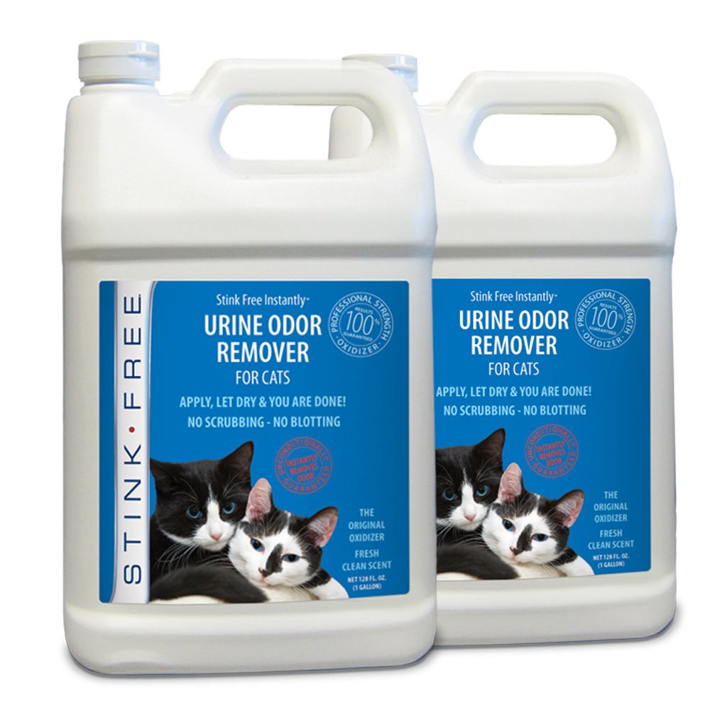 Stink Free Instantly Cat Urine Odor Remover & Eliminator Cleaning Solution, Oxidizer Based Pee Cleaner Solution & Deodorizer for Carpets, Outdoor Rugs, Rugs, Mattress, etc. 2-128 oz Gallons by Stink Free