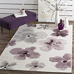 "Safavieh Adirondack Collection ADR123L Ivory and Purple Vintage Floral Watercolor Area Rug (5'1"" x 7'6"")"