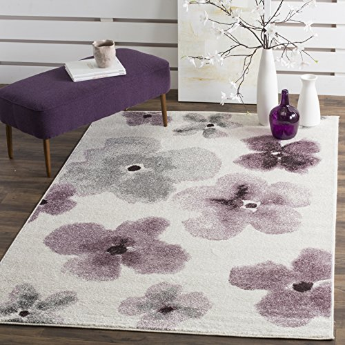 (Safavieh Adirondack Collection ADR123L Ivory and Purple Vintage Floral Watercolor Area Rug (8' x 10'))