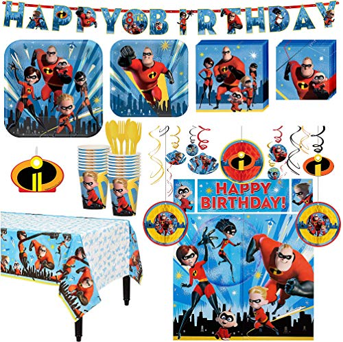 The Incredibles 2 Birthday Party Kit, Includes Happy Birthday Banner and Decorations, Serves 16, by Party City