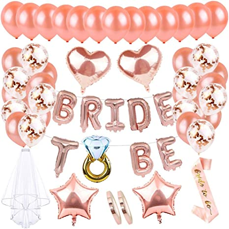 Rose Gold Balloons Foil Latex Helium Team Bride Hen Do Party Wedding Decoration