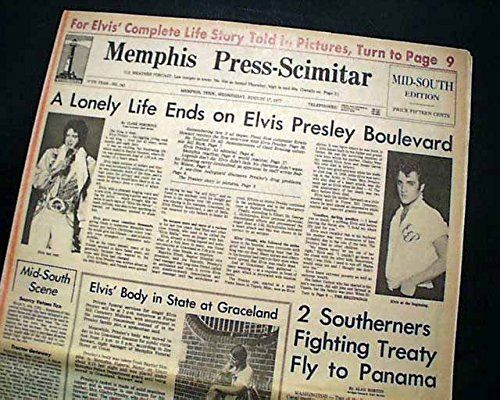 (Best ELVIS PRESLEY DEATH Memphis TN Tennessee w/Photos 1977 Old Newspaper RARE MEMPHIS PRESS-SCIMITAR, Tennessee, August 17, 1977)
