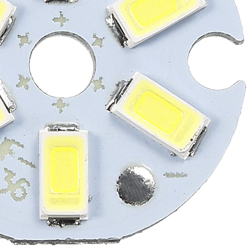 uxcell 300mA 3W 6 LEDs 5730 SMD LED Chip Module Aluminum Board Pure White Super Bright 22mm Dia 5pcs