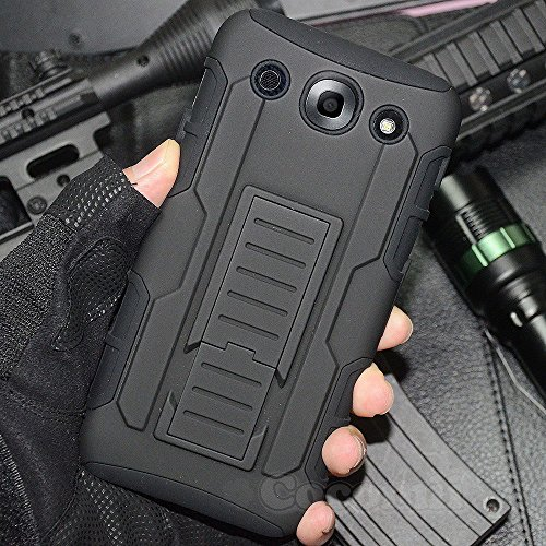 LG Optimus G Pro Case, Cocomii Robot Armor NEW [Heavy Duty] Premium Belt Clip Holster Kickstand Shockproof Bumper [Military Defender] Full Body Dual Layer Rugged Cover E980 E985 E986 E989 F240 (Black)