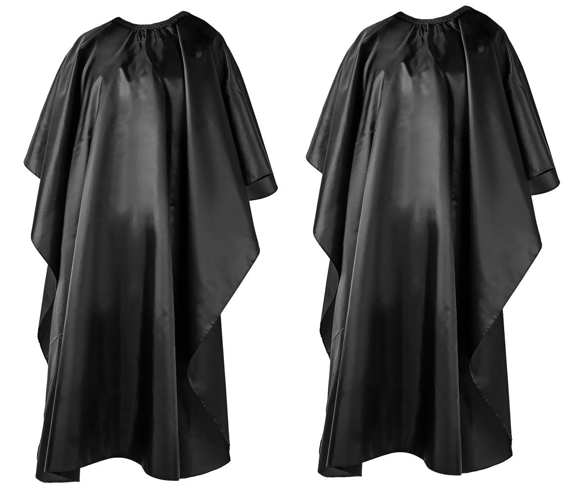 Hair Cutting Barber Salon Cape for Adults and Kids - Waterproof, Light Polyester Taffeta Fabric with easy closure (2 Pack)