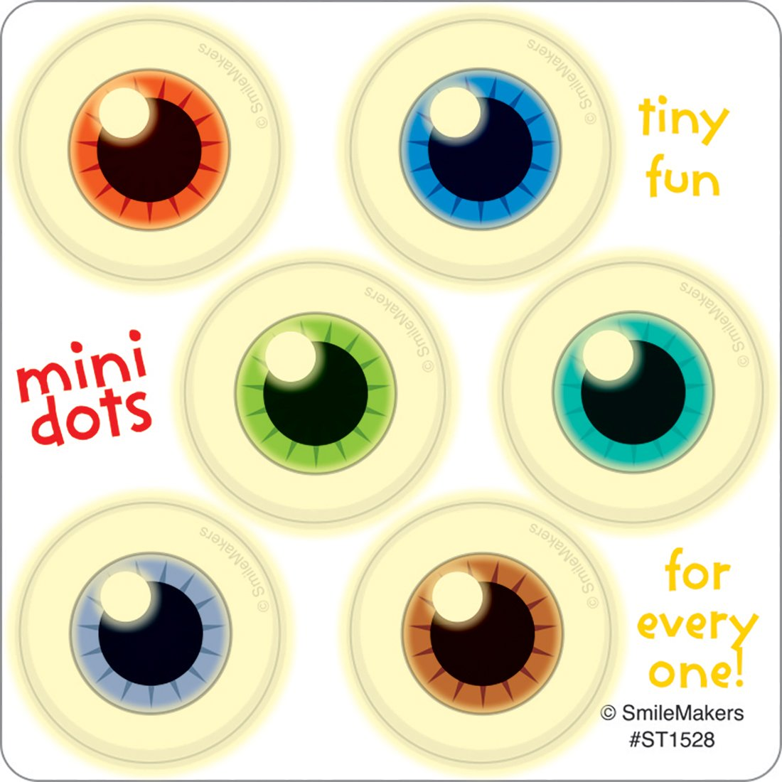 SmileMakers Glow in The Dark Eyeball Mini Dot Stickers Prizes 75 per Pack Smilemakers Inc.