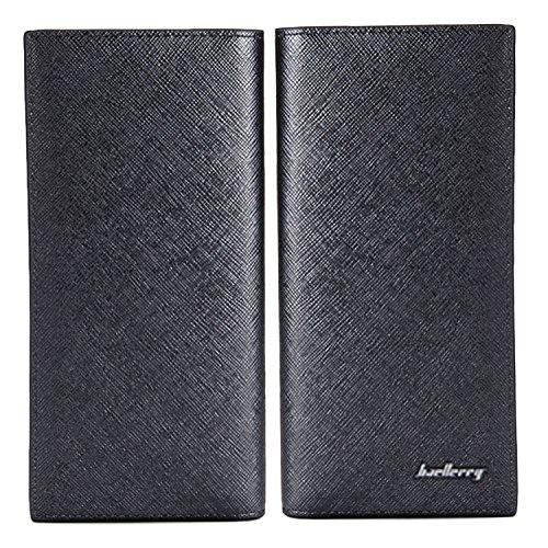 BYD Monedero Cartera de Embrague Hombre Leather Delgado súper blando Monedero y estilo lujoso tarjetas multi del organizador negro