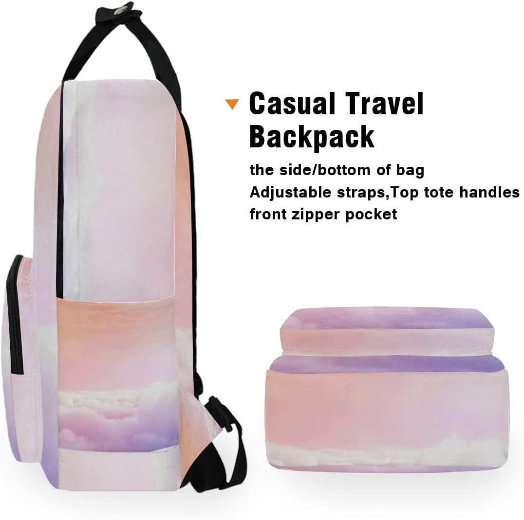 Pink Cloud Holds 14-inch Laptop 10.5x5.5x15 Laptop Backpacks College School Bookbag Travel Hiking Camping Daypack for Women Men