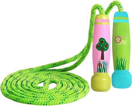 KONVINIT Cuerda para Saltar Skipping Rope Ajustable con Mango de Madera para niños, Longitud de 102 Pulgadas Adecuado para el Juego Escolar o Actividad al Aire Libre: Amazon.es: Deportes y aire libre