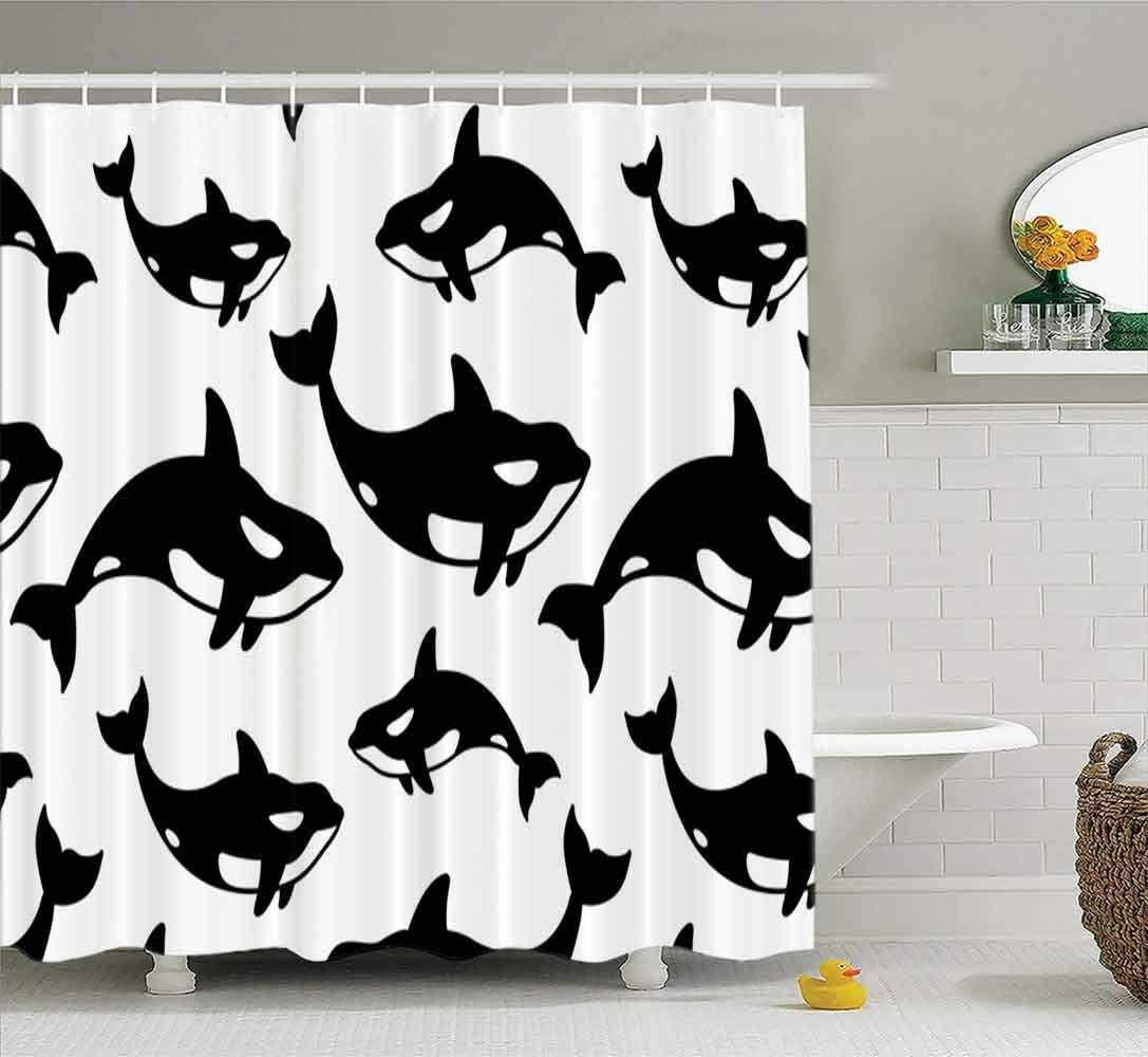 HerysTa Waterproof Fabric Bathroom Long Shower Curtain Whale Dolphin Shark Fin Doodle Pattern Background 72X78Inch Outdoor Shower Curtain Hotel Shower Curtain