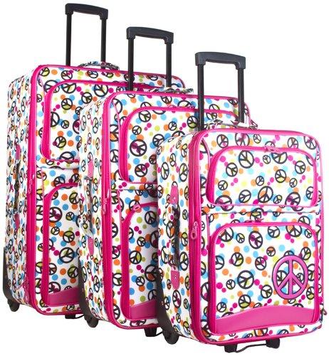 Ever Moda Peace Sign 3 Piece Luggage Set (Pink)