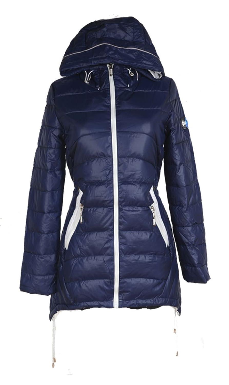 Damen Winterjacke Ballon zipfel Winter Kapuze Parka Jacke kurz Mantel 36 38 40 42 44 46 S M L XL Coat Navi Blau Anorak Ski Jacket Daunen