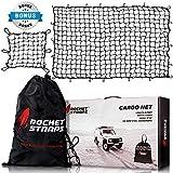 "ROCKET STRAPS Cargo Net | 4'x6' Bungee Net Stretches to 8'x12' | Truck Bed Net Includes (12) Steel Carabiners & Bag | Heavy Duty 5mm 3""x3"" Mesh | Bonus 16""x16"" Motorcycle and Bike Net | (2) Cargo Nets"
