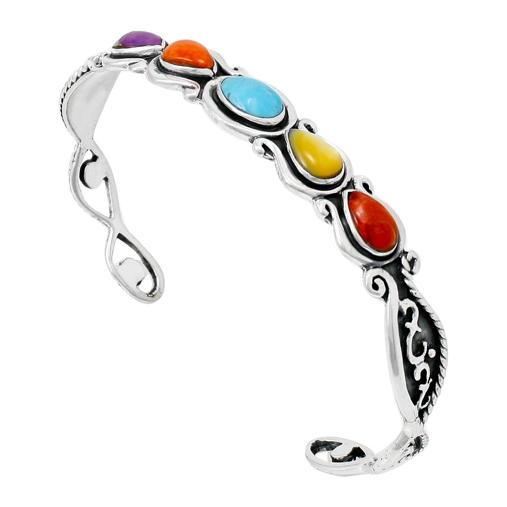 Genuine Turquoise & Gemstone Bracelet Sterling Silver (Select from (Great Artisan)
