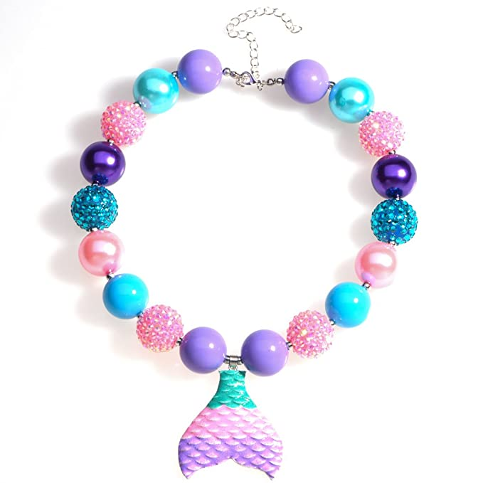 a60ee4d5600f8 Bling Bling Chunky Bubblegum Necklace Mermaid Tail Fashion Beads with Gift  Box for Baby Girls