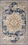Texture Modern Carved Vintage Traditional Look & Feel Dark Blue 5′ x 8′ Ephesus Collection Area Rug Review