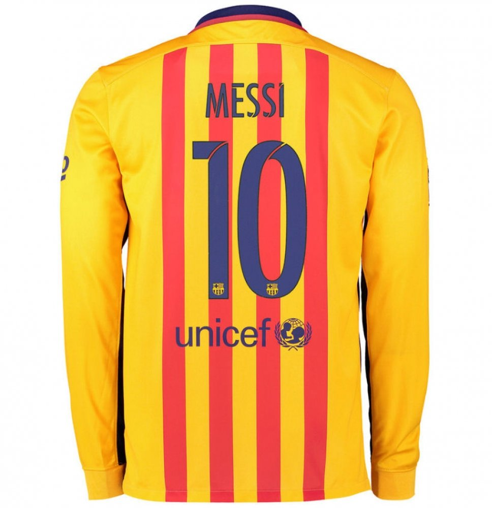 2015-2016 Barcelona Long Sleeve Away Shirt (Messi 10) B077VNXSY7 Medium 38-40