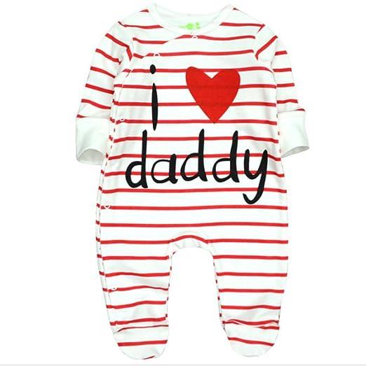 3f484945 XLW Baby Clothes I Love Daddy&Mummy Pure Cotton Baby Romper Unisex-Baby  Newborn Organic Cotton