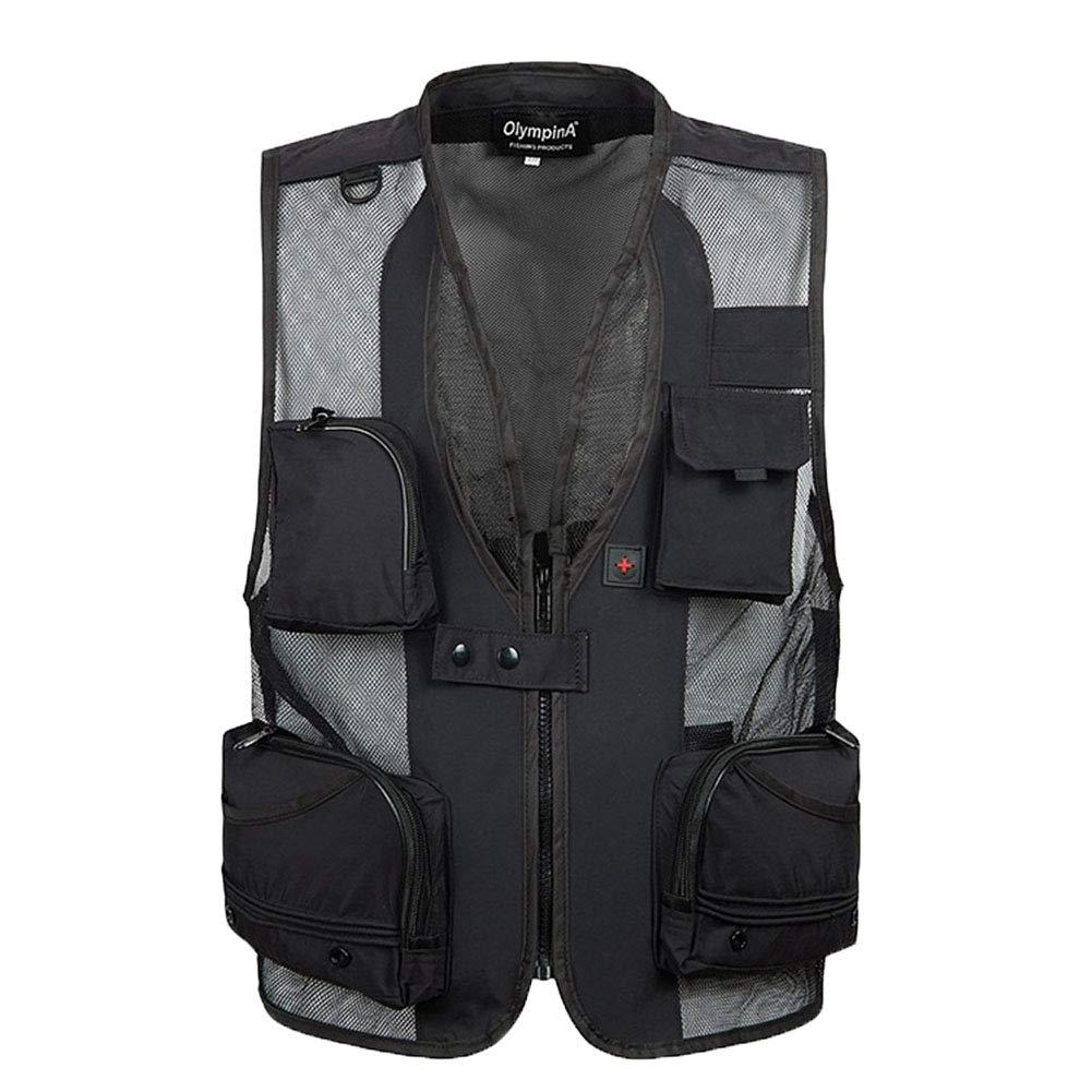 Herren Outdoor Weste Breathable Mesh Multi-Tasche Rei/ßverschluss Netz Weste Angeln Vest F/ür Jagd Angeln Camping