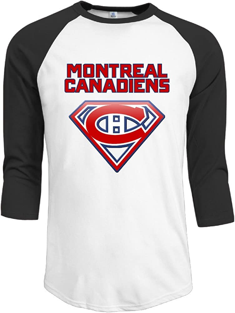 ElishaJ Men's Montreal Sport Ice Hockey 3/4 Raglan Sleeves Baseball Tees Black