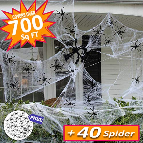 Halloween Decorations Clearance & Props Covered 660sqft Stretch Large Spider Web Spooky White Spider Webbing with 40 Fake Spiders for Party Indoor Outdoor Doorways Walls Entryways