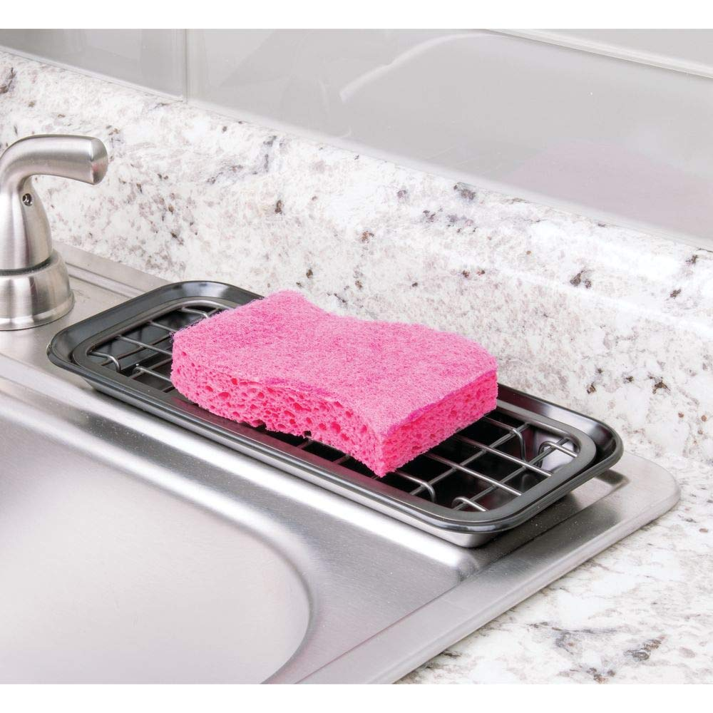 Scrubbers Bar Soap Removable Grid Insert for Sponges mDesign Metal 2-Piece Sink Tray Caddy for Kitchen Countertops Brushed Black Nickel Drainage Grid with Tray Cleaning Tools