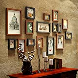 Modern Fresh Photo Wall Creative Photo Wall 16 Multi Photo Frames Set American Vintage Style Bedroom Sofa Background Wall Composition Photo Frame Photo Wall (Color : #1)