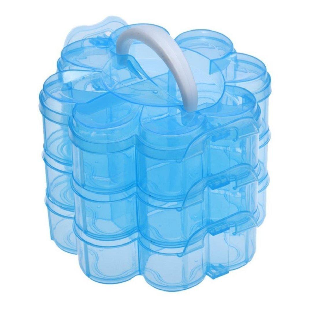 Gemini _ Mall® 3-Stufen-Aufbewahrungsbox aus klarem Kunststoff, stapelbare Hobby-Kiste für Bastelmaterial, Schmuckschatulle –blau Gemini_mall