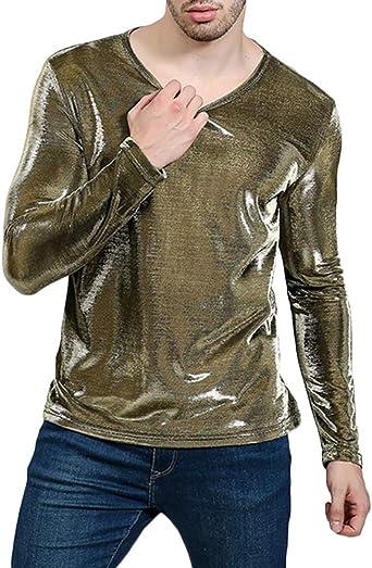 Camiseta De Manga Larga Hombres Gradiente Sólido Básico Blusa T-Shirt Lentejuelas Top: Amazon.es: Ropa y accesorios
