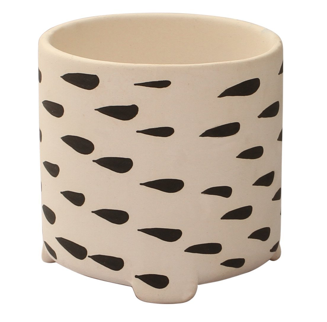 Benzara BM123970 Handmade Ceramic Flower Plant Pot with Drizzling Drop Pattern, Black and White
