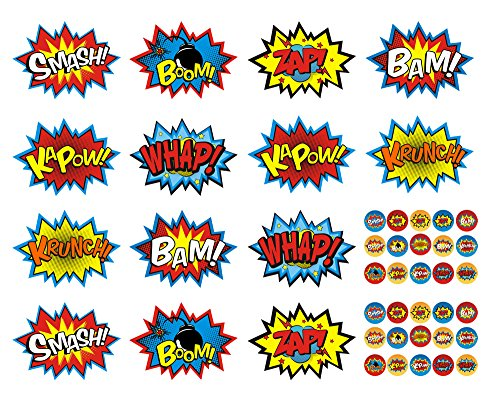 ADJOY Superhero Party Supplies Superhero Stickers 44PCS Pack (14 big + 30 small) Removable