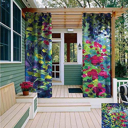 Beihai1Sun Curtains for Living Room,Art Floral Field Summer,for Patio/Front Porch,W108x108L (Valance Fields Floral)