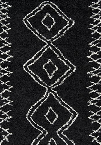 Momeni Rugs Maya Collection, Ultra Thick Pile Shag Area Rug, 3'11' x 5'7', Black