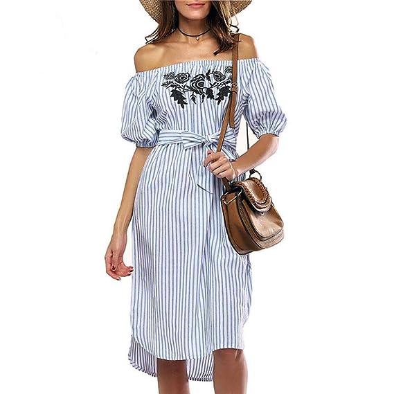 VENMO Vestidos Mujer, Vestidos de fiesta, Vestidos largo, Vestido sin hombros de playa para mujer, Vestido largo casual de manga corta con rayas de cuello ...