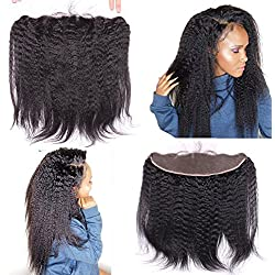 Ear To Ear 13x4 Full Lace Frontal Closure Italian Coarse Yaki Kinky Straight Human Hair Lace Front Closures With Baby Hair Bleached Knots Free Part 10""