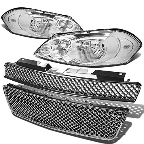 For Chevy Impala/Monte Carlo Headlight (Chrome Housing Clear Corner)+Front Grille (Impala Ltz)