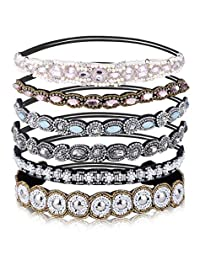 Udalyn 1-6 Pcs Rhinestone Elastic Headbands for Women Girls Beaded Bands Hair Accessories Handmade Jewelry