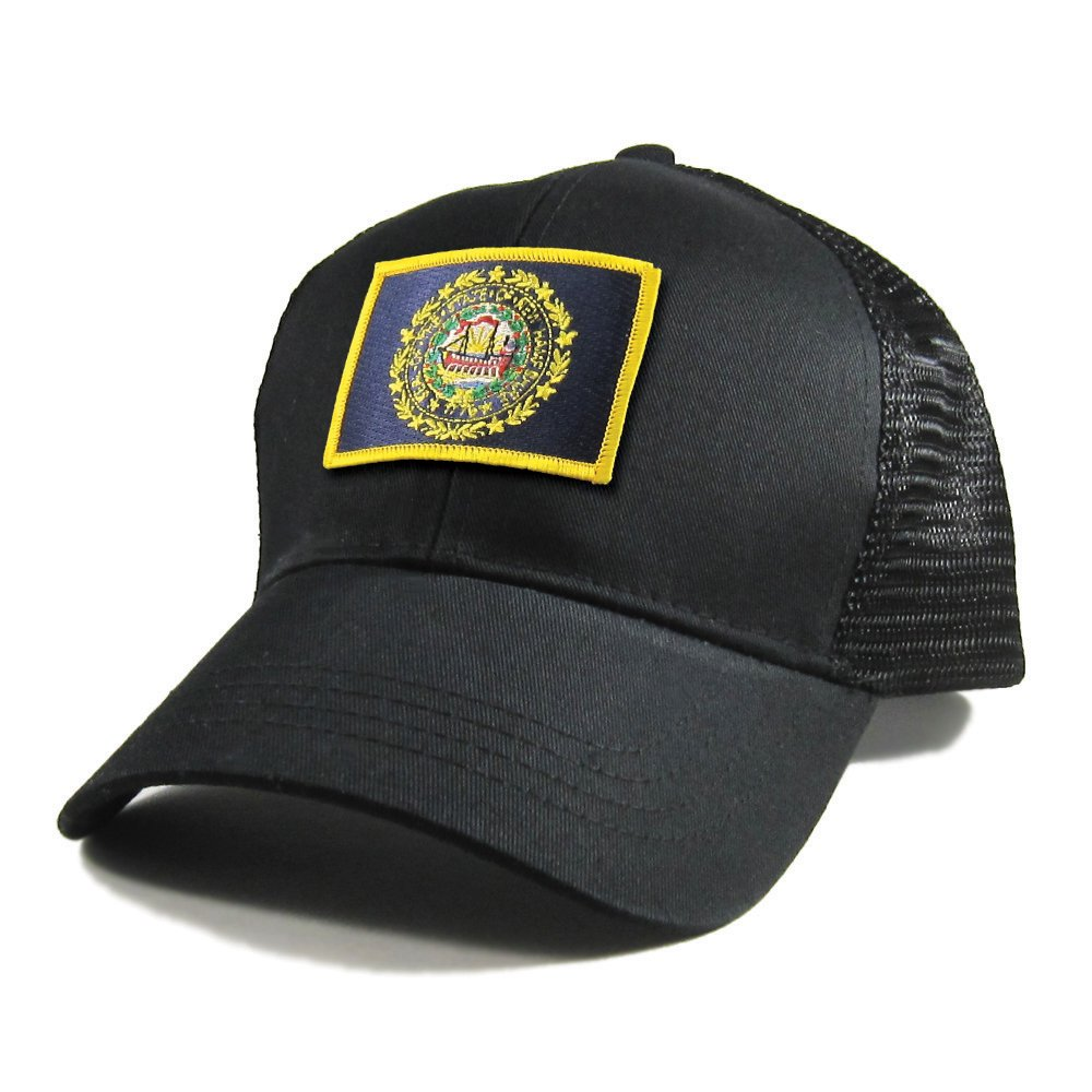 Homeland Tees Mens New Jersey Flag Patch All Black Trucker Hat