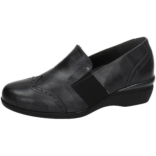 MADE IN SPAIN 55219 Mocasines DE Piel SEÑORA Zapatos MOCASÍN Plomo 35