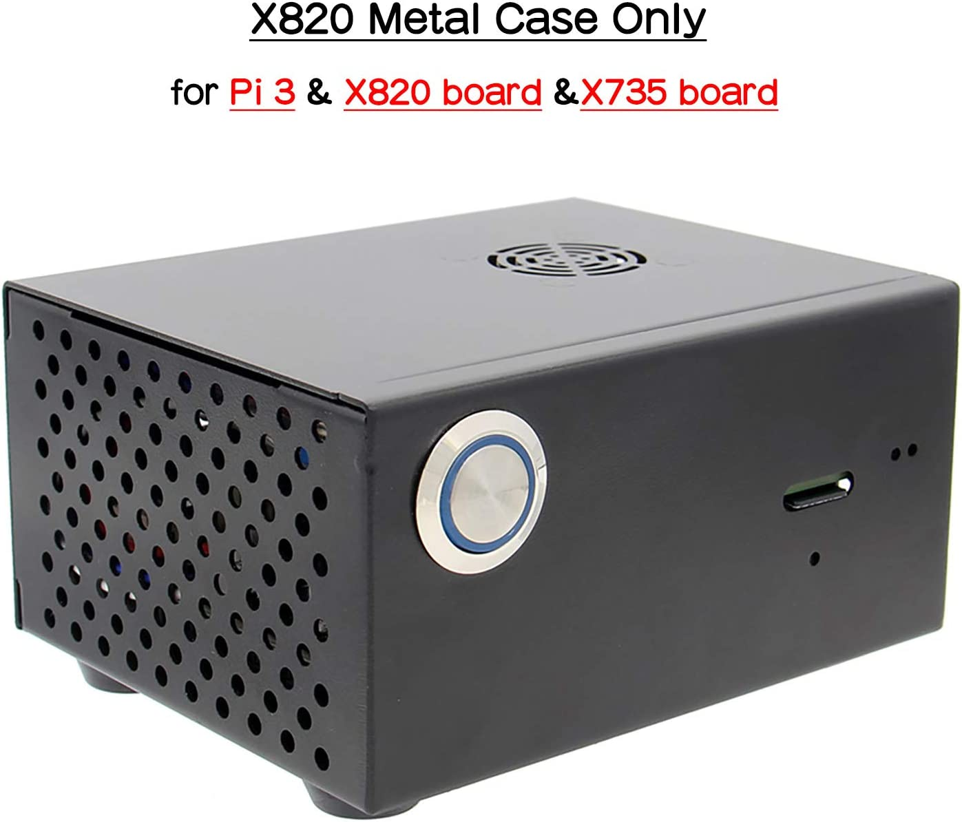 Geekworm Raspberry Pi 3 X820 Metal Case/Enclosure + Power Control Switch + Cooling Fan Kit Support X820 V3.0 SSD&HDD SATA Storage Board&X735/Rock64(Not Support X825)