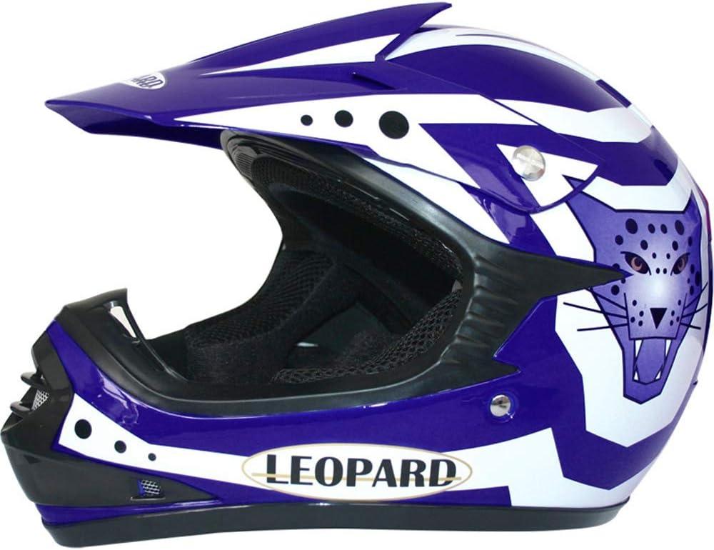 S 5cm Guanti S 49-50cm S Leopard LEO-X17 Rosso Casco da Motocross per Bambini + Tuta da Motocross per Bambini + Occhiali 5-6 Anni