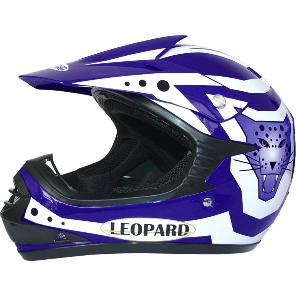 49-50cm + Helmet /& Gloves S + Goggles } Blue Leopard Kids Children Motorbike Motocross Set { CAMO Suit M 7-8 Yrs