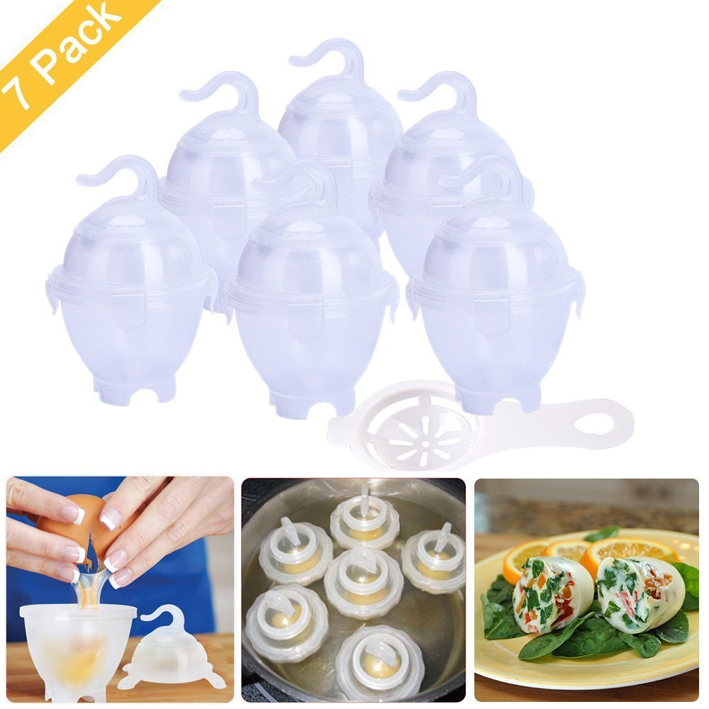 Egg Cookers, 7 PCS Egg Cooker Hard Boiled Eggs without the Shell, BPA Free Egg Cooker Hard & Soft Maker, AS SEEN ON TV